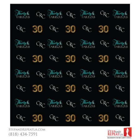 30 and Fabulous Birthday with this sleek black step and repeat with gold, white and teal colors