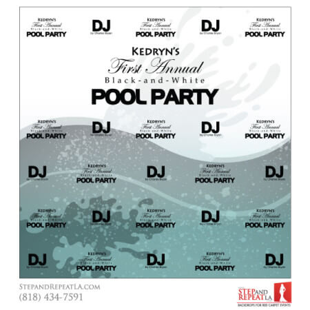 Pool Party DJ Step and Repeat Design
