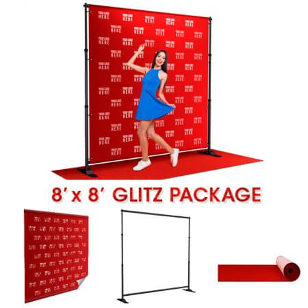 8' x 8' Glitz package includes backdrop, telescoping stand and red carpet.