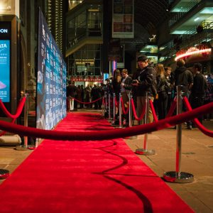 One of our 8' x 20' Fabric Stretch Displays at the Denver Film Festival!