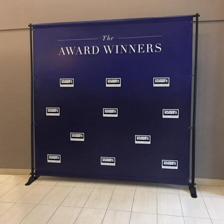 An 8 by 8 foot step and repeat for The Award Winners