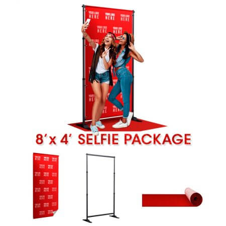 8' x 4' Selfie package comes with stand, backdrop and red carpet