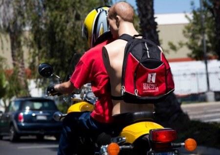 backpack on bike