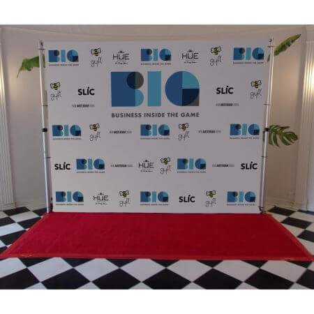 An 8 by 10 foot step and repeat display