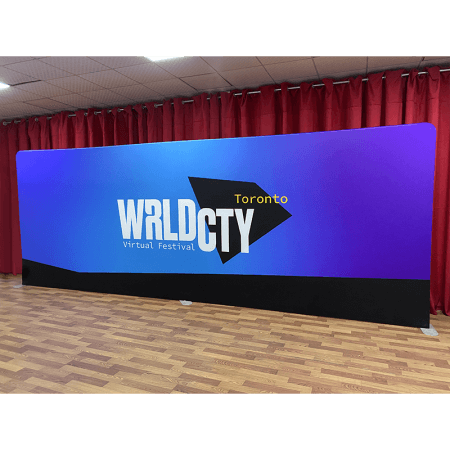 WRLD CTY Toronto 20 foot fabric backdrop