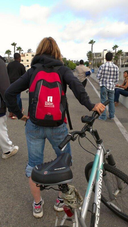 backpack and bike