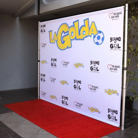 8' x 10' Step and repeat backdrop with our pipe and base stand for La Golda.