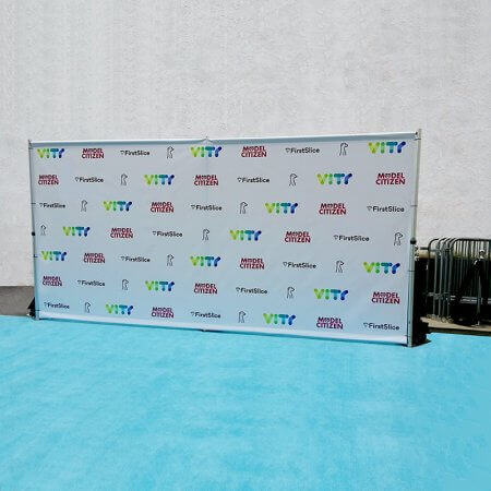 A colorful vinyl step and repeat