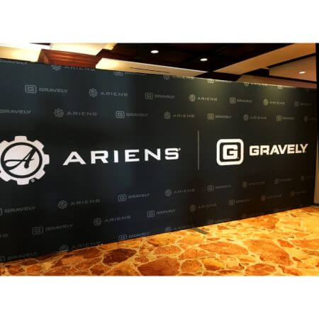 10' x 20' Step and repeat backdrop with our pipe and base stand for Ariens / Gravely.
