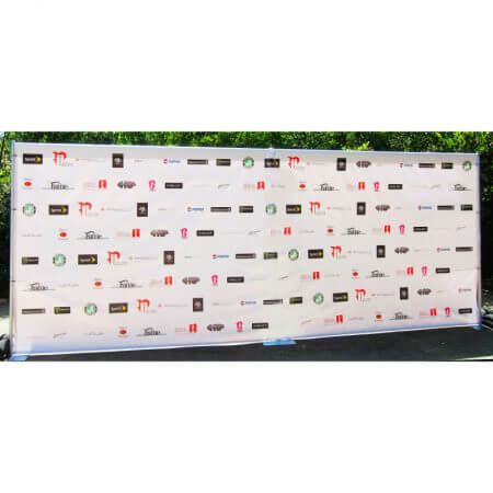 8' x 20' step and repeat backdrop on our heavy-duty pipe and base stand.
