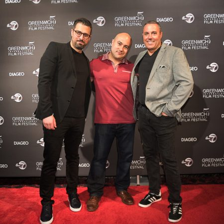 8' x 20' Step and repeat fabric backdrop with our pipe and base stand for Greenwich Film Festival.