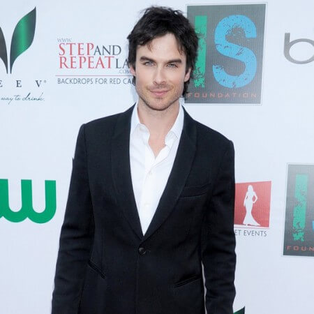 A step and repeat for the Ian Somerhalder Foundation charity event