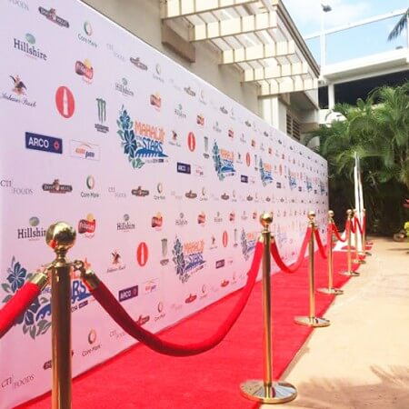 A huge, 8 by 44 foot Media Wall for Party Pix Hawaii