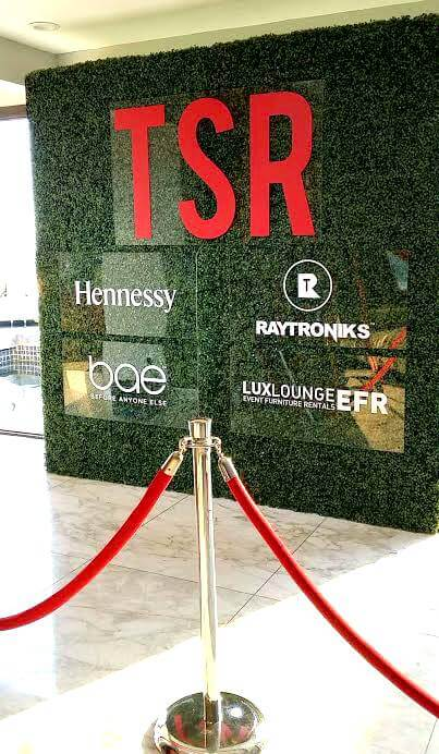 2016 TSR The Shade Room - Hedge wall with logos attached to ...