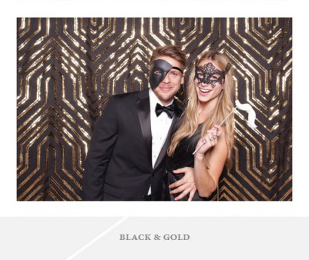 A simple photo backdrop with black and gold sequins