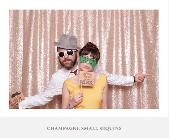 A special backdrop with champagne sequins