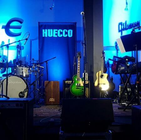 A bright 4 by 8 foot backdrop we made for Huecco!