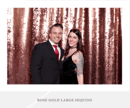 A special backdrop with large rose gold sequins