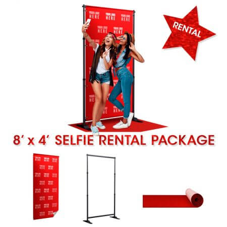 8' x 4' Selfie Rental package includes: Backdrop, telescoping stand and red carpet.