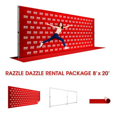 8' x 20' Razzle Dazzle rental package includes: Backdrop, pipe and base stand and red carpet.