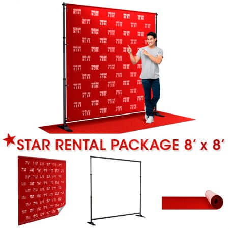 8' x 8' Star Rental package includes: Backdrop, telescoping stand and red carpet.