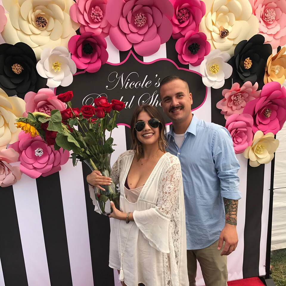bridal shower party featuring an 8 by 8 foot step and repeat banner beautiful