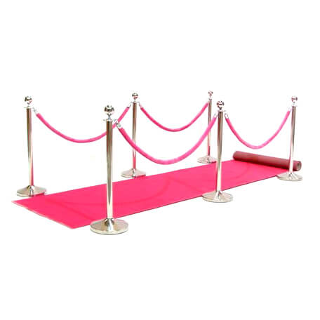 Step and Repeat LA has pink cart runways with stanchions