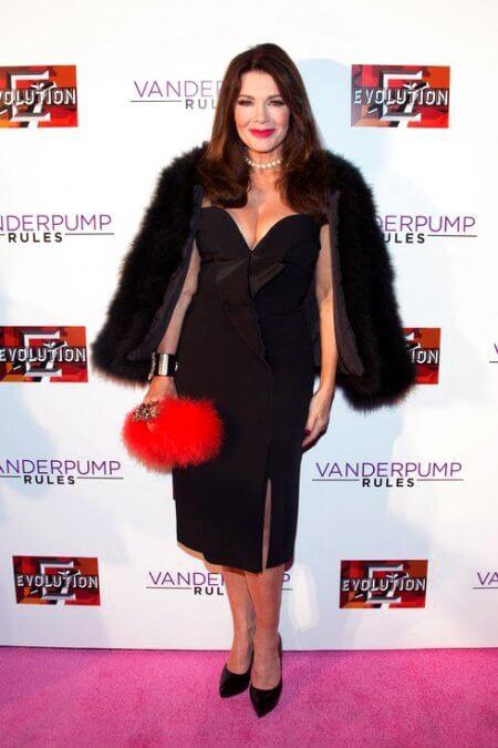 A custom backdrop for the red carpet premiere of Vanderpump Rules season 5