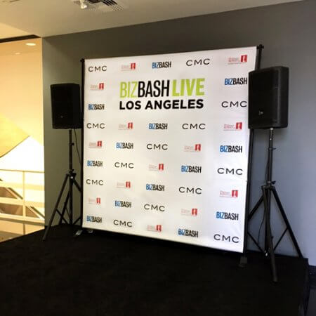 An 8 by 8 foot step and repeat for BizBash!
