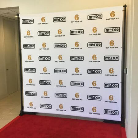 A custom 8 by 8 foot step and repeat for MyxTV