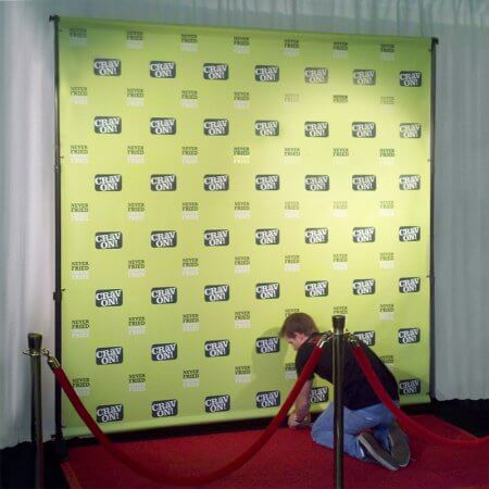 A custom 8 by 8 foot step and repeat for Grav On!