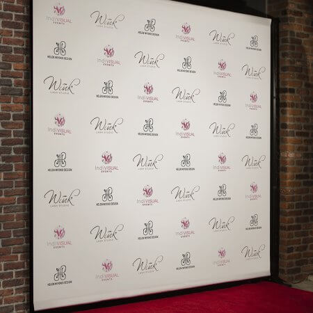 A custom 8 by 8 foot step and repeat