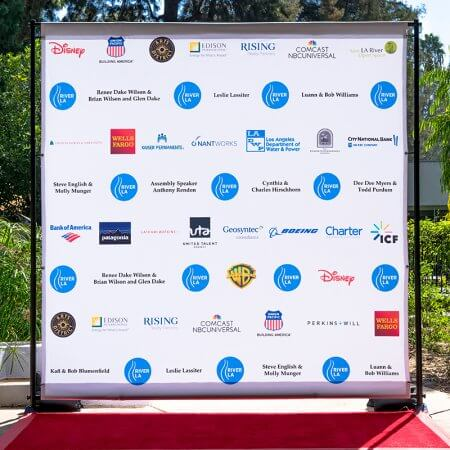 An excellent 8 by 8 foot fabric step and repeat for the River LA Fundraiser