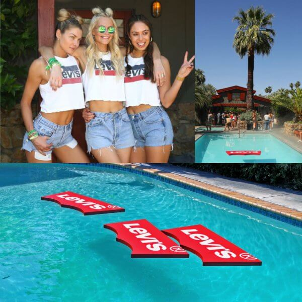 A custom cut pool float for Levi's