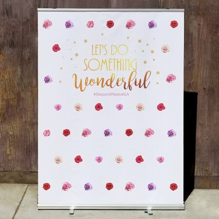 A beautifully colorful design for a retractable backdrop!