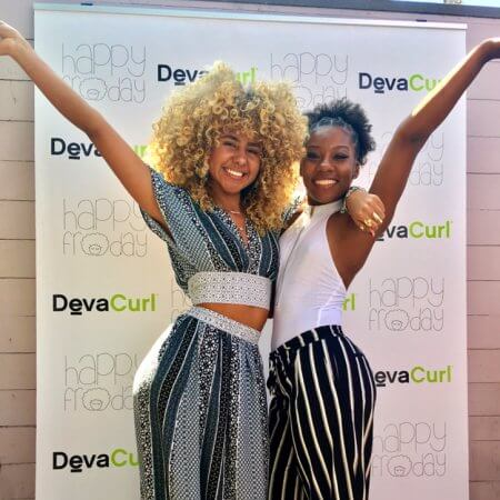 A retractable backdrop for DevaCurl's product launch party