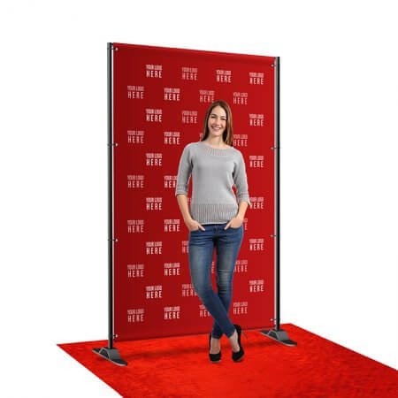 A 5 by 8 foot step and repeat with telescoping stand