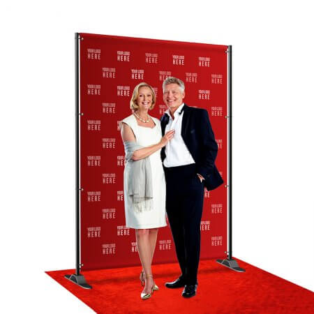 A 6 by 8 foot step and repeat with telescoping stand