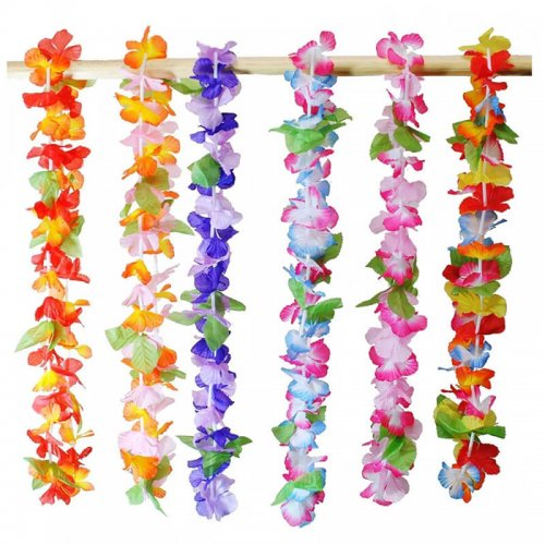 These beautiful, vibrant leis are made from a soft, comfortable, simulated-silk material and come in assorted colors that are sure to be a hit at your next event.