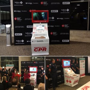 Step & repeat media wall, retractable stands, custom posters & stickers to decorate the staging area & kiosk for the American Heart Assoc. event at the DFW Airport.