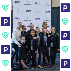 We created this custom fabric backdrop for Plum Practicewear and Grander Academy.