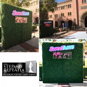 "We created and installed this custom hedge wall for the USC acapella group sponsored by 'Sweet Tarts""."