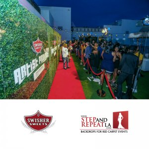 "We designed, fabricated, and installed this amazing 8' x 32' hedge wall for the ""Spark Awards"", presented by Swisher Sweets"