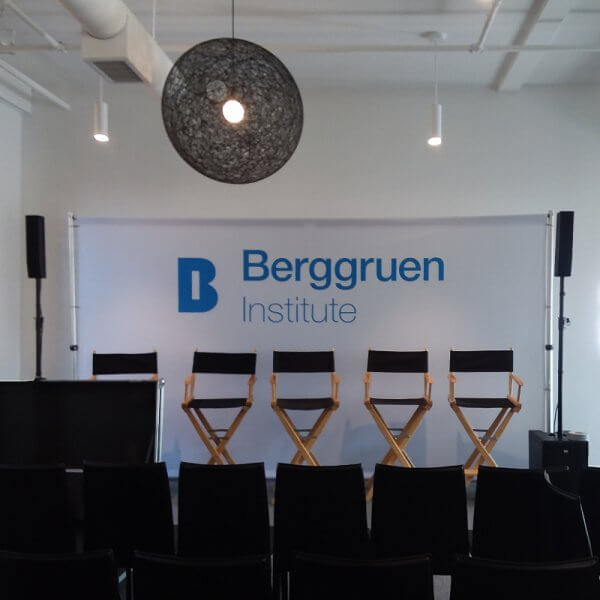 An 8 by 16 foot stage backdrop for Berggruen Institute