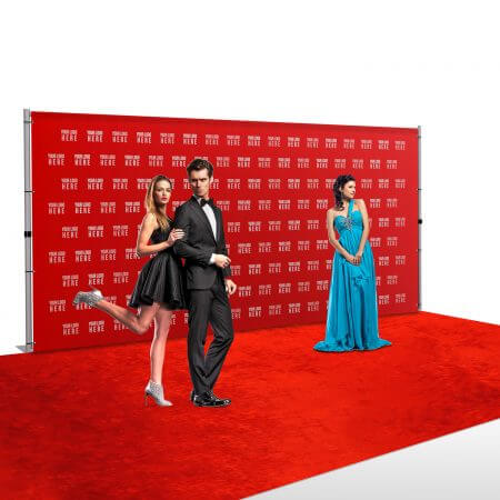 8' x 16' step and repeat backdrop with pipe and base stand