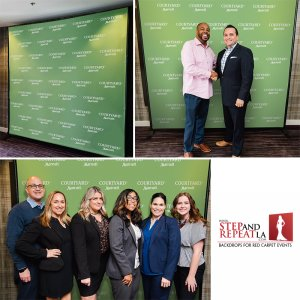 We printed this 8' x 8' fabric step and repeat for the grand opening of the Courtyard Marriott in Laguna Hills.