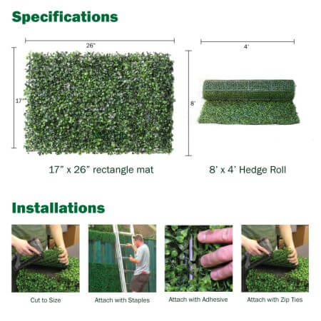 Specs on rectangle hedge mat