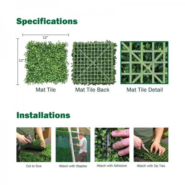 Hedge Foliage Square Specification Chart