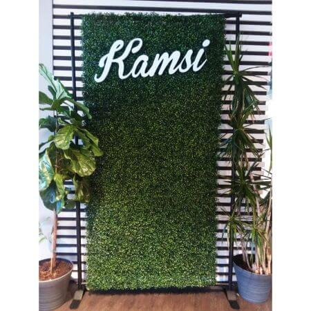 8' x 4' Hedge roll with telescoping stand with custom letters..