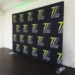 We printed this 8 ' x 10' fabric stretch display for TR7PLE SE7EN.
